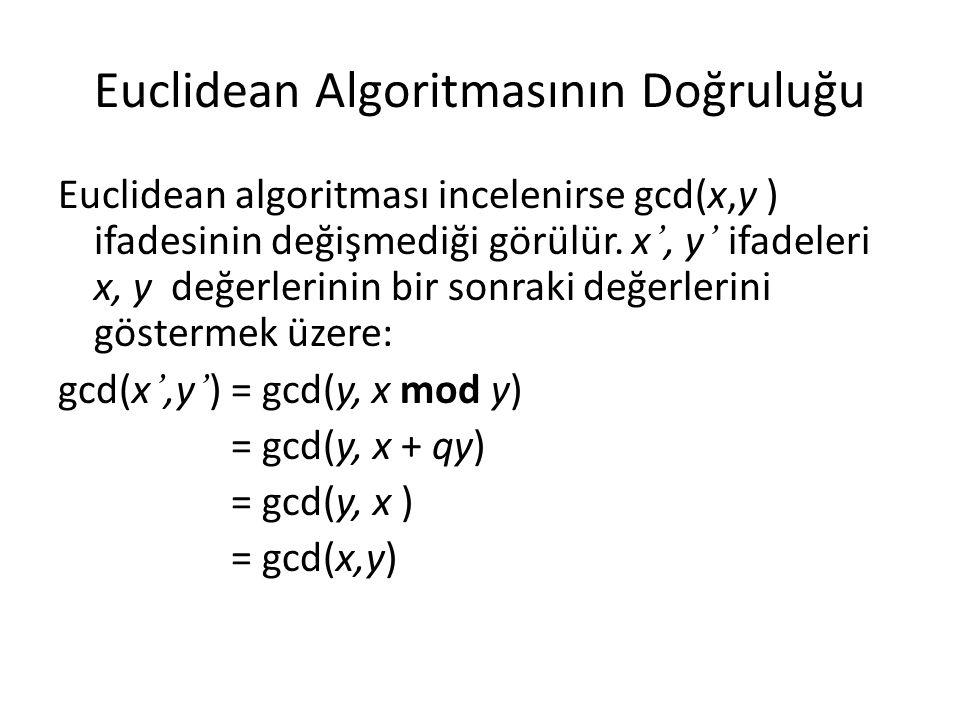 Euclidean Algoritmasının Doğruluğu Euclidean algoritması incelenirse gcd(x,y ) ifadesinin değişmediği görülür. x ', y ' ifadeleri x, y değerlerinin bi