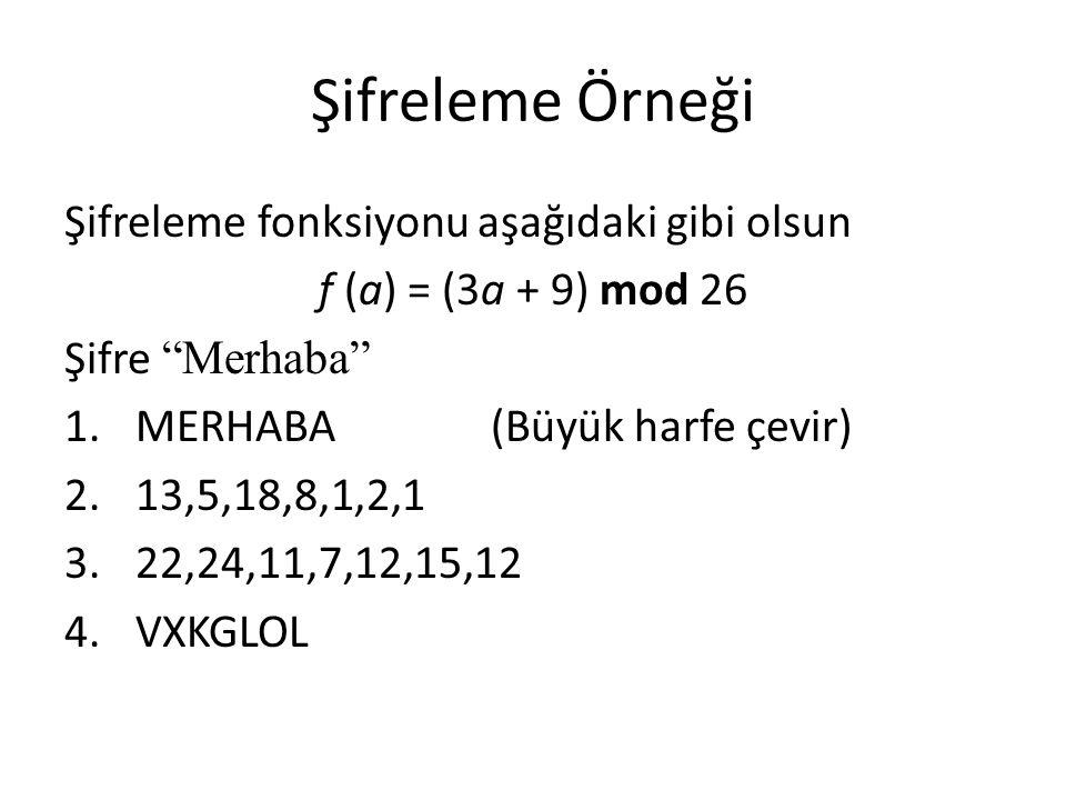 """Şifreleme Örneği Şifreleme fonksiyonu aşağıdaki gibi olsun f (a) = (3a + 9) mod 26 Şifre """"Merhaba"""" 1.MERHABA (Büyük harfe çevir) 2.13,5,18,8,1,2,1 3.2"""