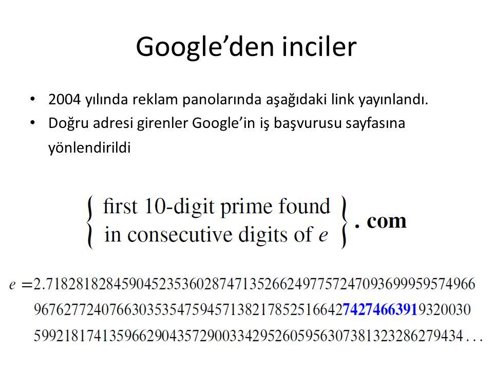 Google'den inciler 2004 yılında reklam panolarında aşağıdaki link yayınlandı. Doğru adresi girenler Google'in iş başvurusu sayfasına yönlendirildi