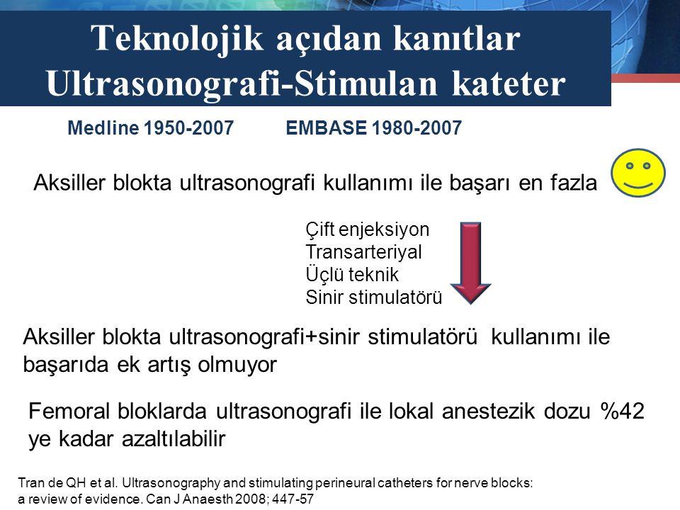 Teknolojik açıdan kanıtlar Ultrasonografi-Stimulan kateter Tran de QH et al. Ultrasonography and stimulating perineural catheters for nerve blocks: a