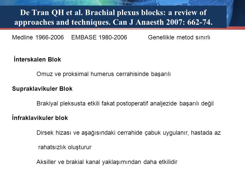 De Tran QH et al. Brachial plexus blocks: a review of approaches and techniques. Can J Anaesth 2007: 662-74. Medline 1966-2006 EMBASE 1980-2006 Genell