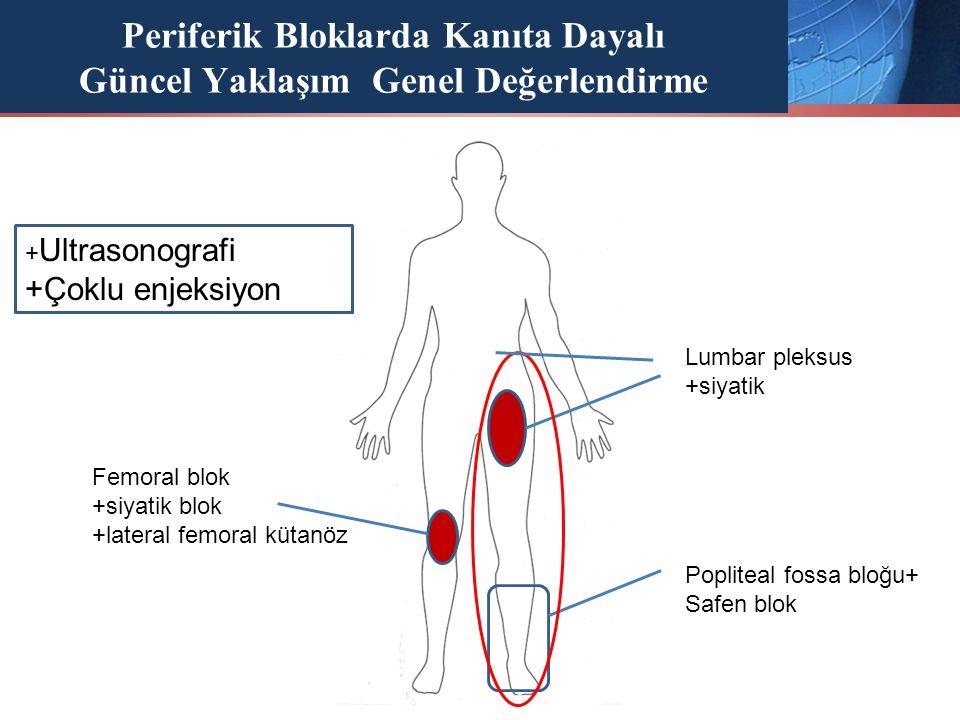 Periferik Bloklarda Kanıta Dayalı Güncel Yaklaşım Genel Değerlendirme + Ultrasonografi +Çoklu enjeksiyon Popliteal fossa bloğu+ Safen blok Lumbar plek