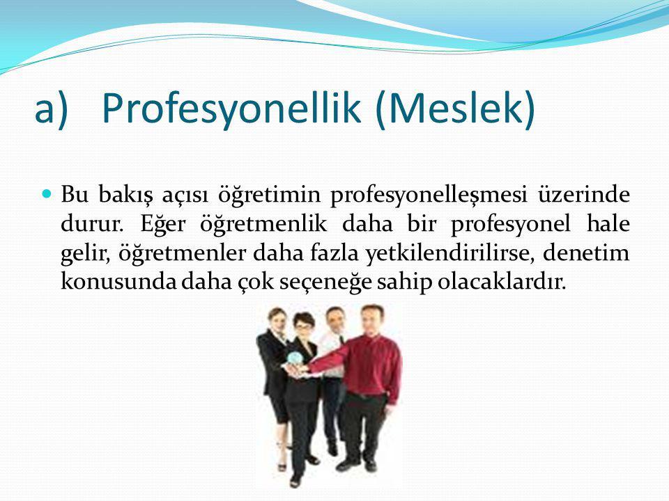 a)Profesyonellik (Meslek) Bu bakış açısı öğretimin profesyonelleşmesi üzerinde durur.