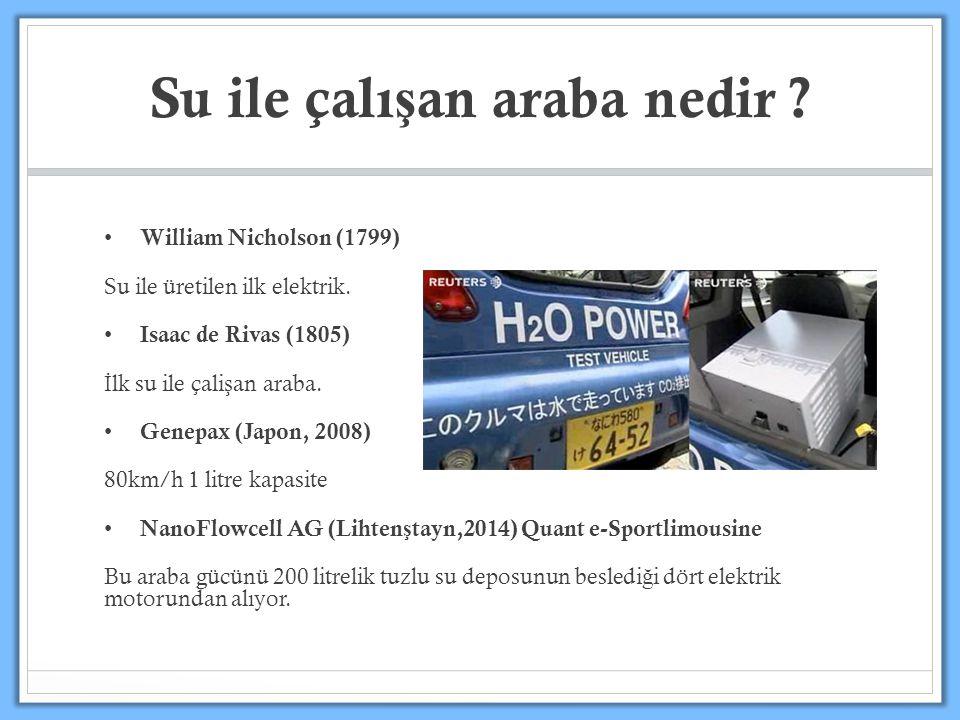 William Nicholson (1799) Su ile üretilen ilk elektrik. Isaac de Rivas (1805) İ lk su ile çali ş an araba. Genepax (Japon, 2008) 80km/h 1 litre kapasit