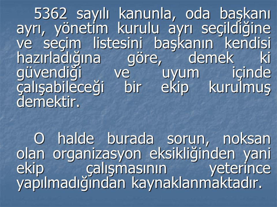 5362 sayılı kanunla, oda başkanı ayrı, yönetim kurulu ayrı seçildiğine ve seçim listesini başkanın kendisi hazırladığına göre, demek ki güvendiği ve u