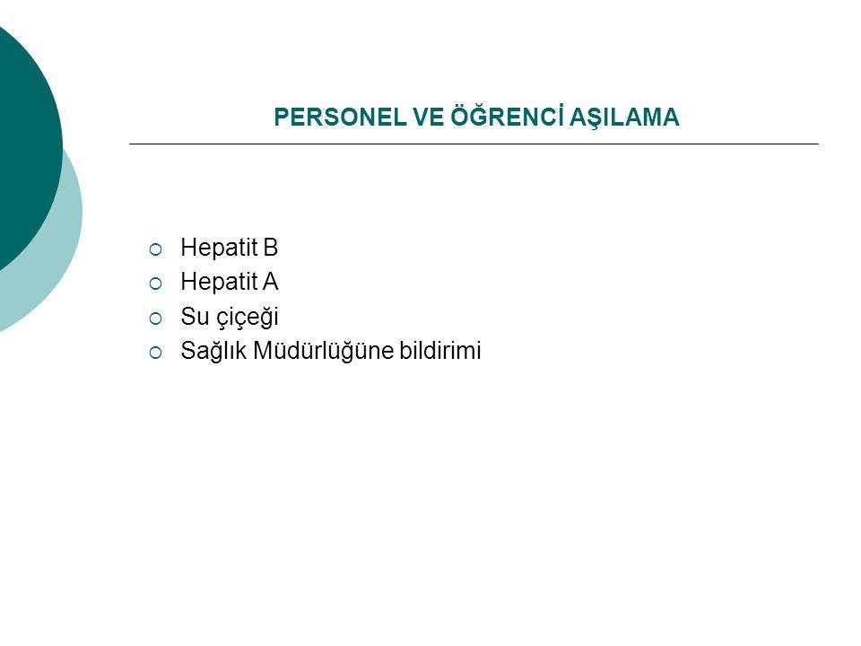 PERSONEL VE ÖĞRENCİ AŞILAMA  Hepatit B  Hepatit A  Su çiçeği  Sağlık Müdürlüğüne bildirimi