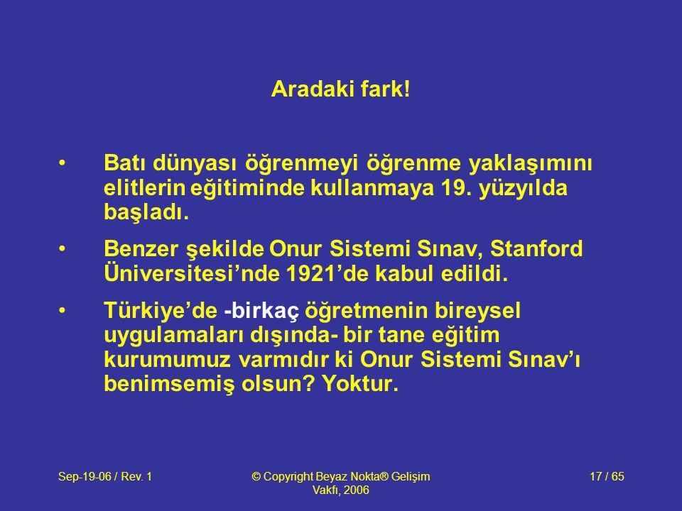 Sep-19-06 / Rev. 1© Copyright Beyaz Nokta® Gelişim Vakfı, 2006 17 / 65 Aradaki fark.