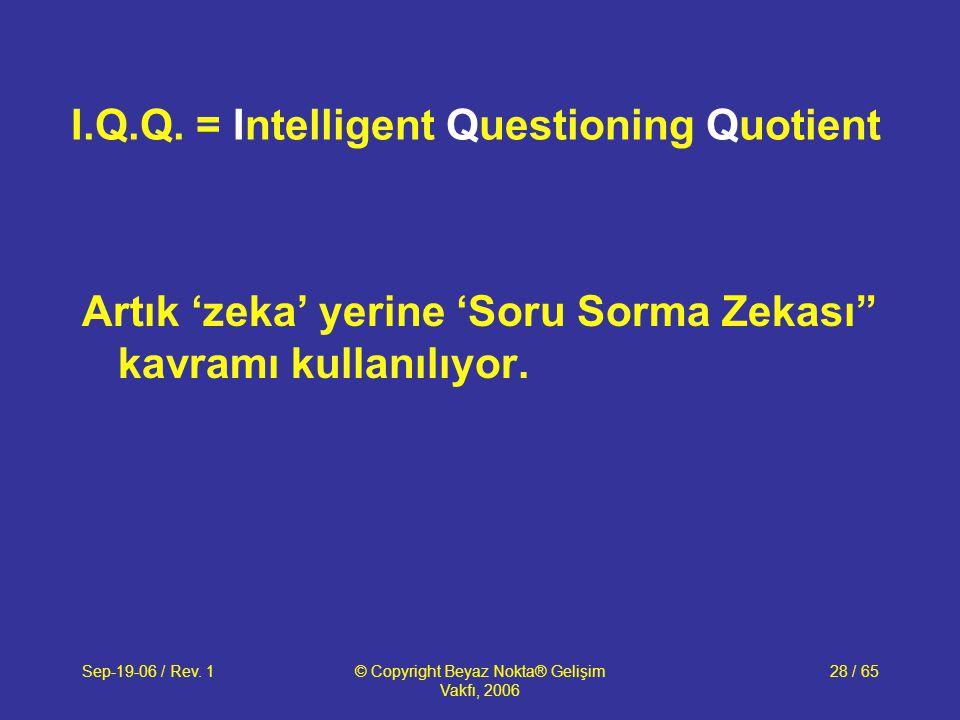 Sep-19-06 / Rev. 1© Copyright Beyaz Nokta® Gelişim Vakfı, 2006 28 / 65 I.Q.Q. = Intelligent Questioning Quotient Artık 'zeka' yerine 'Soru Sorma Zekas