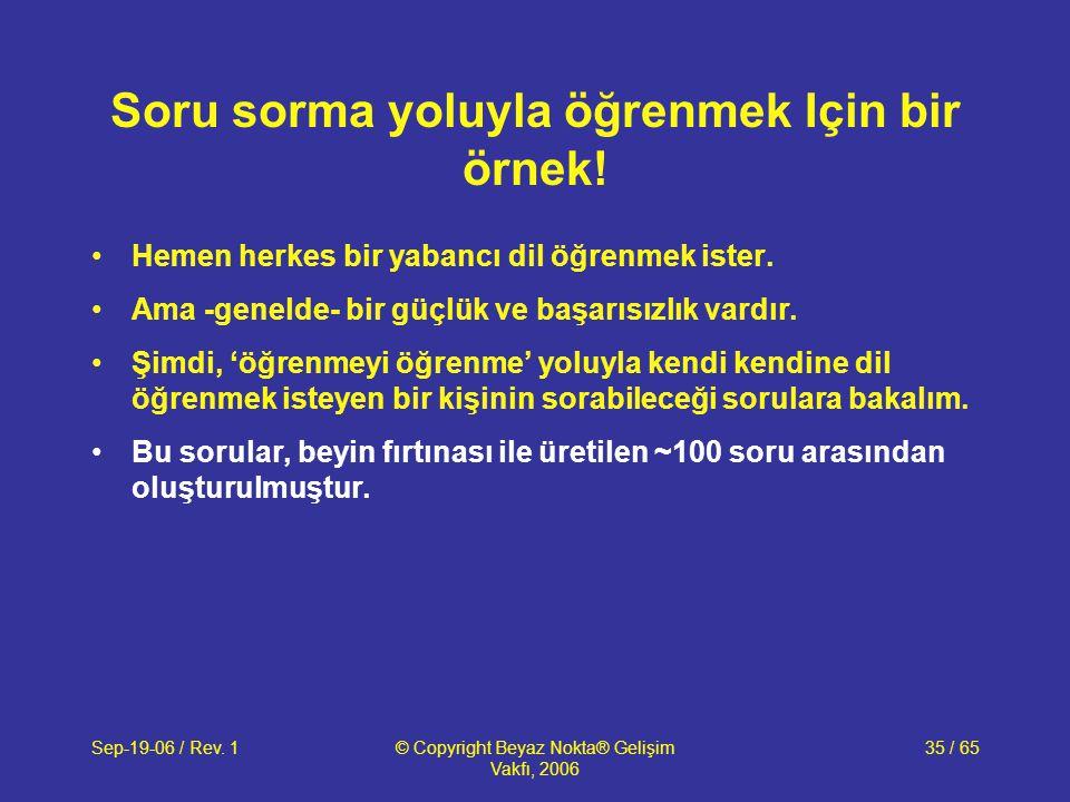 Sep-19-06 / Rev. 1© Copyright Beyaz Nokta® Gelişim Vakfı, 2006 35 / 65 Soru sorma yoluyla öğrenmek Için bir örnek! Hemen herkes bir yabancı dil öğrenm
