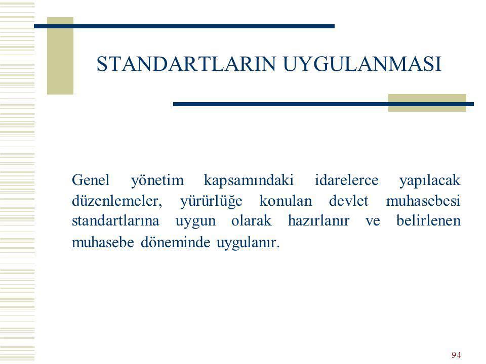 93 DEVLET MUHASEBE STANDARDININ OLUŞUMU Kurul tarafından konunun belirlenmesi Devlet Muhasebesi Standardı Taslak Metni Devlet Muhasebesi Standardı Nihai Metni Resmi Gazete Devlet Muhasebesi Standardı