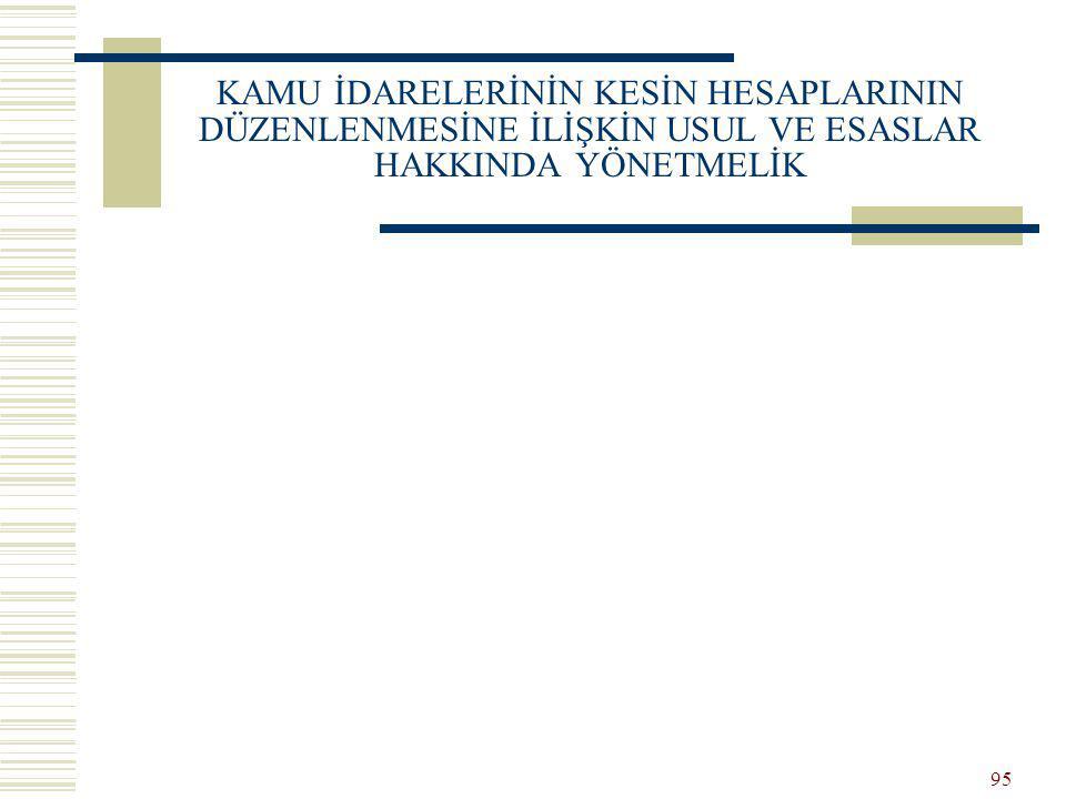 94 STANDARTLARIN UYGULANMASI Genel yönetim kapsamındaki idarelerce yapılacak düzenlemeler, yürürlüğe konulan devlet muhasebesi standartlarına uygun ol