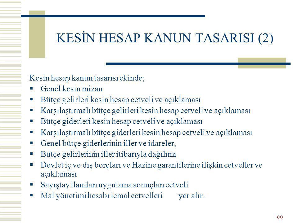 98 KESİN HESAP KANUN TASARISI (1) Genel ve özel bütçeli idarelerden gelen kesin hesap cetvelleri Bakanlıkça konsolide edilerek kesin hesap kanunu tasarısı hazırlanır.
