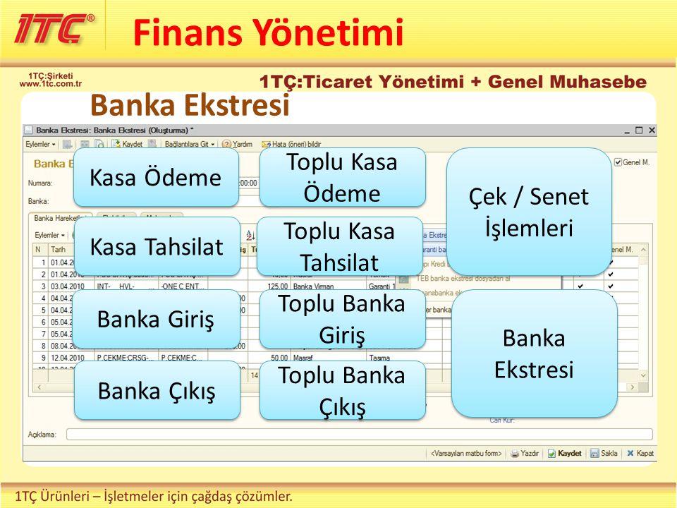 Finans Yönetimi Kasa Ödeme Kasa Tahsilat Banka Giriş Banka Çıkış Toplu Kasa Ödeme Toplu Kasa Tahsilat Toplu Banka Giriş Toplu Banka Çıkış Çek / Senet İşlemleri Banka Ekstresi