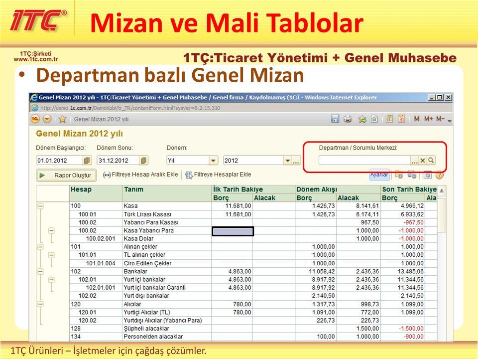 Departman bazlı Genel Mizan Mizan ve Mali Tablolar