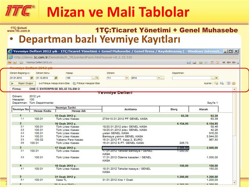 Departman bazlı Yevmiye Kayıtları Mizan ve Mali Tablolar