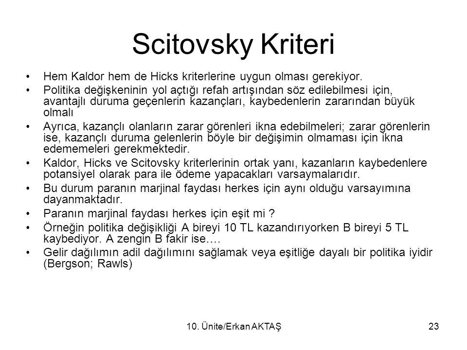 10. Ünite/Erkan AKTAŞ23 Scitovsky Kriteri Hem Kaldor hem de Hicks kriterlerine uygun olması gerekiyor. Politika değişkeninin yol açtığı refah artışınd