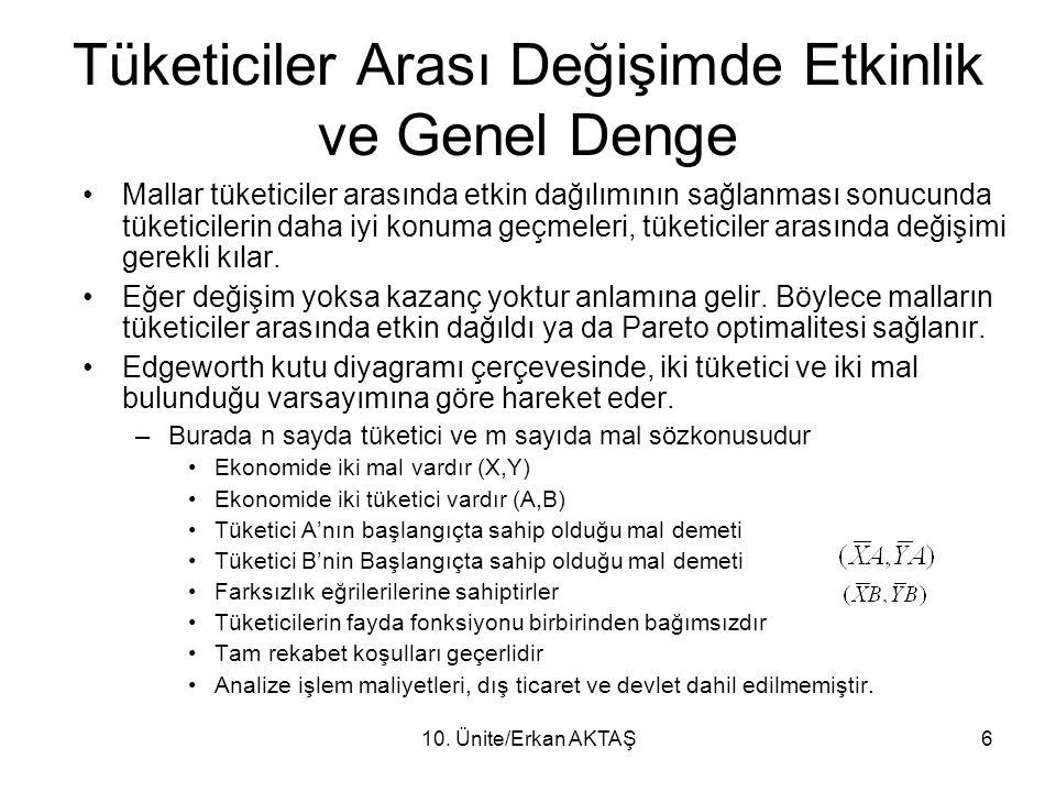10. Ünite/Erkan AKTAŞ6 Tüketiciler Arası Değişimde Etkinlik ve Genel Denge Mallar tüketiciler arasında etkin dağılımının sağlanması sonucunda tüketici