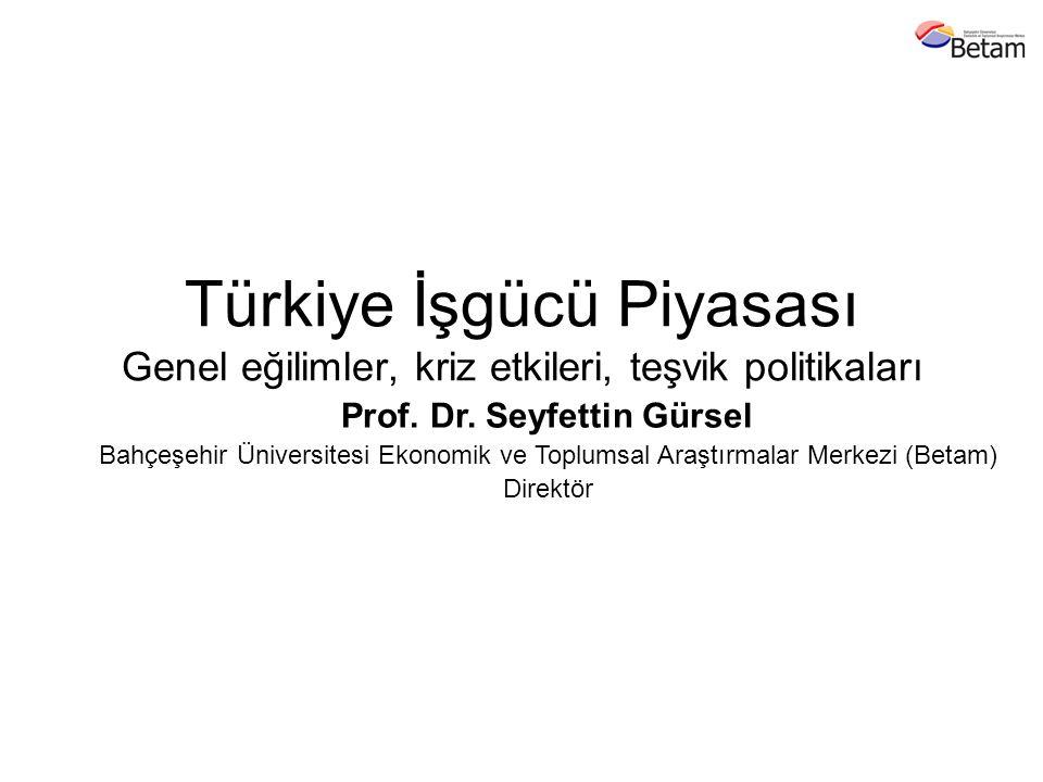 Türkiye İşgücü Piyasası Genel eğilimler, kriz etkileri, teşvik politikaları Prof. Dr. Seyfettin Gürsel Bahçeşehir Üniversitesi Ekonomik ve Toplumsal A