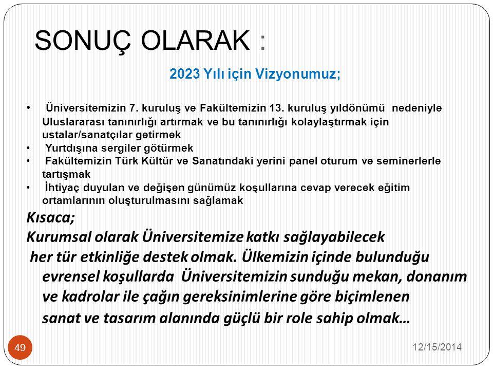 SONUÇ OLARAK : 12/15/2014 49 2023 Yılı için Vizyonumuz; Üniversitemizin 7.