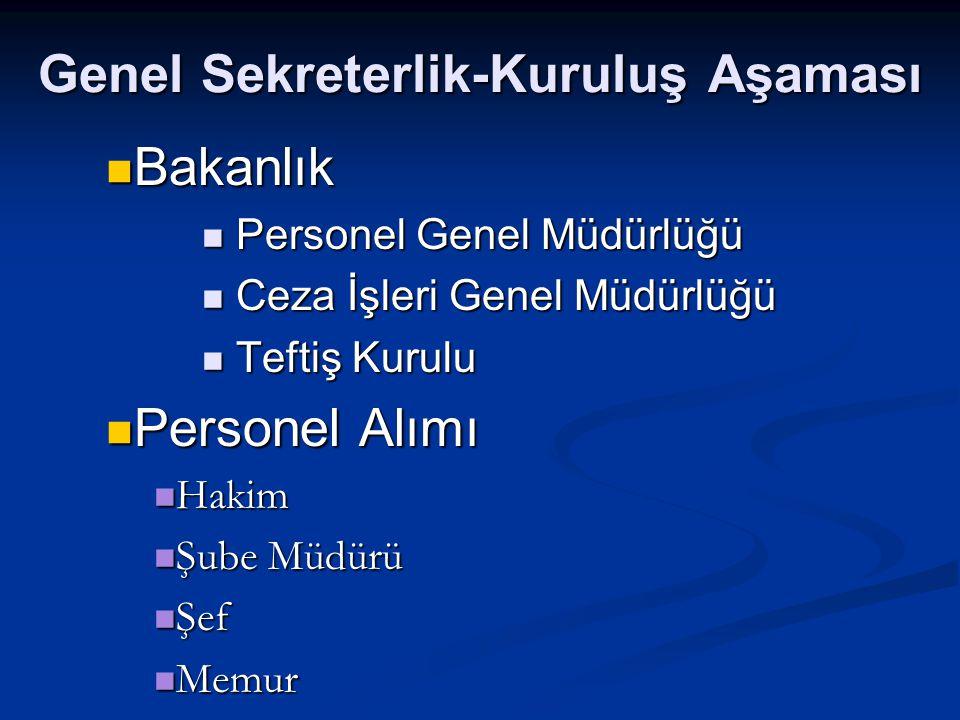 Genel Sekreterlik-Kuruluş Aşaması Bakanlık Bakanlık Personel Genel Müdürlüğü Personel Genel Müdürlüğü Ceza İşleri Genel Müdürlüğü Ceza İşleri Genel Mü