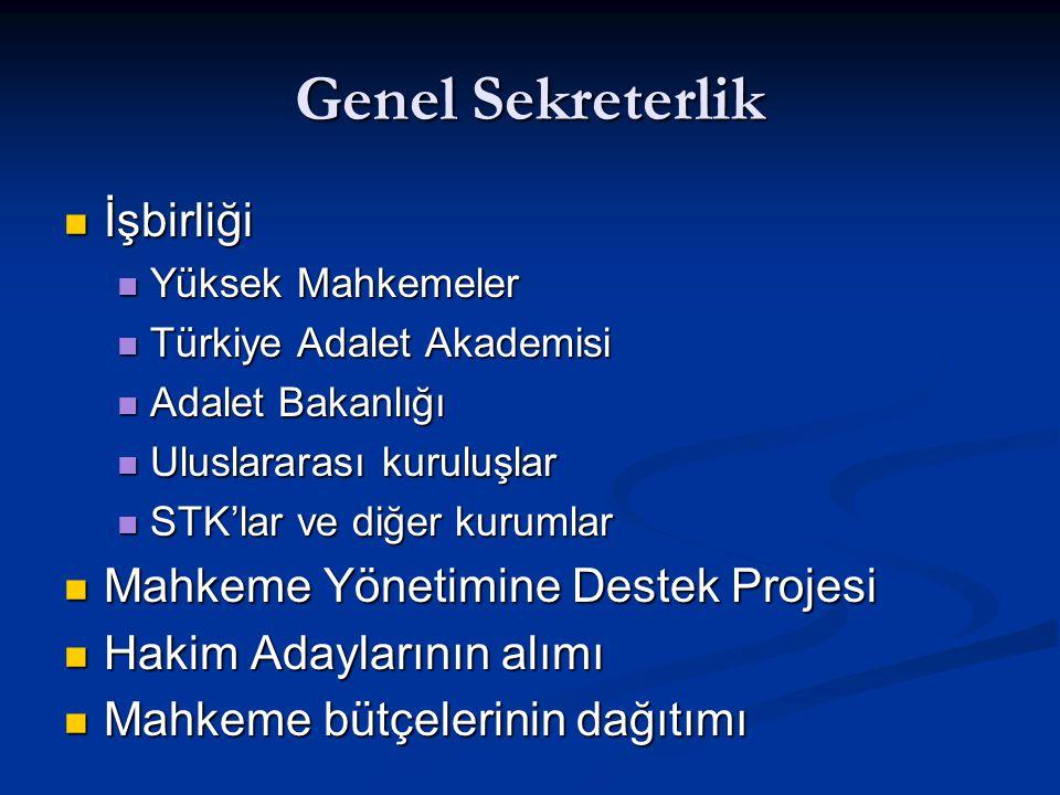 Genel Sekreterlik İşbirliği İşbirliği Yüksek Mahkemeler Yüksek Mahkemeler Türkiye Adalet Akademisi Türkiye Adalet Akademisi Adalet Bakanlığı Adalet Ba