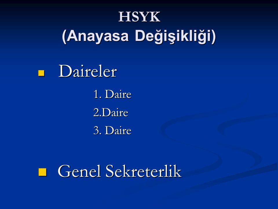 HSYK GENEL KURUL 1.DAİRE Atama ve nakil Yetki 2.DAİRE Terfi Disiplin 3.