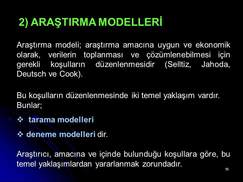 10 2) ARAŞTIRMA MODELLERİ Araştırma modeli; araştırma amacına uygun ve ekonomik olarak, verilerin toplanması ve çözümlenebilmesi için gerekli koşullar
