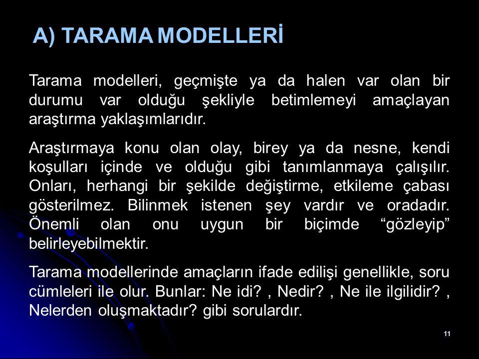 11 A) TARAMA MODELLERİ Tarama modelleri, geçmişte ya da halen var olan bir durumu var olduğu şekliyle betimlemeyi amaçlayan araştırma yaklaşımlarıdır.