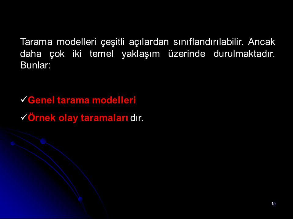 15 Tarama modelleri çeşitli açılardan sınıflandırılabilir. Ancak daha çok iki temel yaklaşım üzerinde durulmaktadır. Bunlar: Genel tarama modelleri Ör