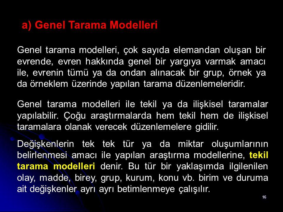 16 a) Genel Tarama Modelleri Genel tarama modelleri, çok sayıda elemandan oluşan bir evrende, evren hakkında genel bir yargıya varmak amacı ile, evren