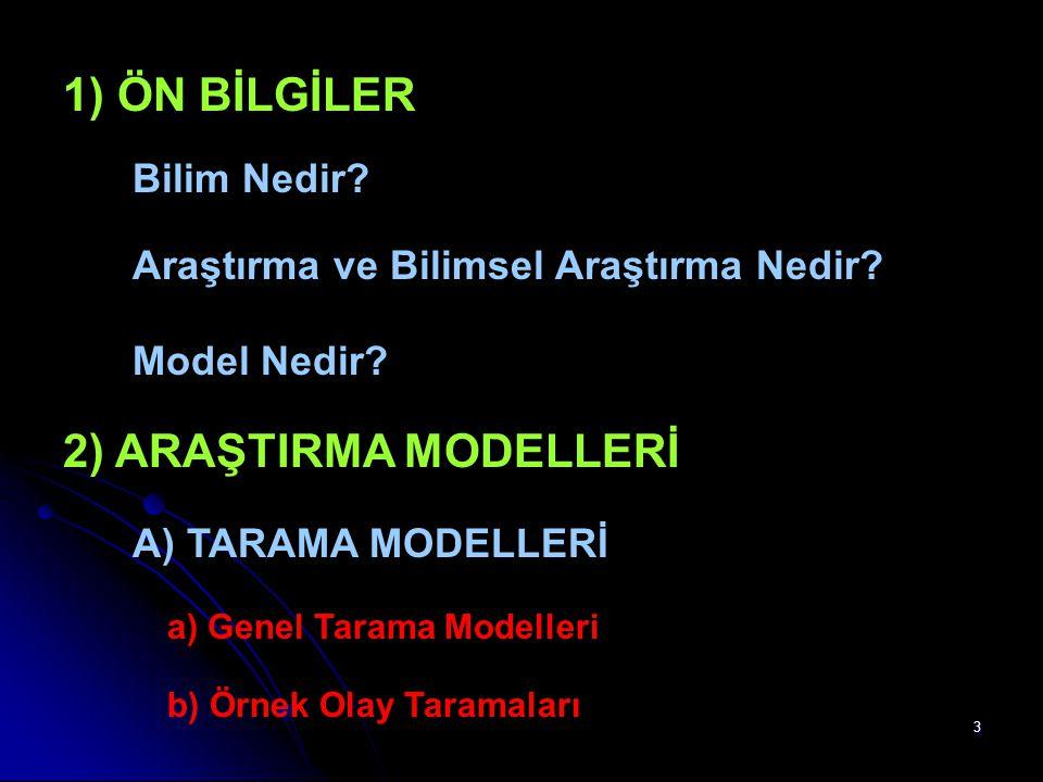 3 1) ÖN BİLGİLER Bilim Nedir? Araştırma ve Bilimsel Araştırma Nedir? Model Nedir? 2) ARAŞTIRMA MODELLERİ A) TARAMA MODELLERİ a) Genel Tarama Modelleri