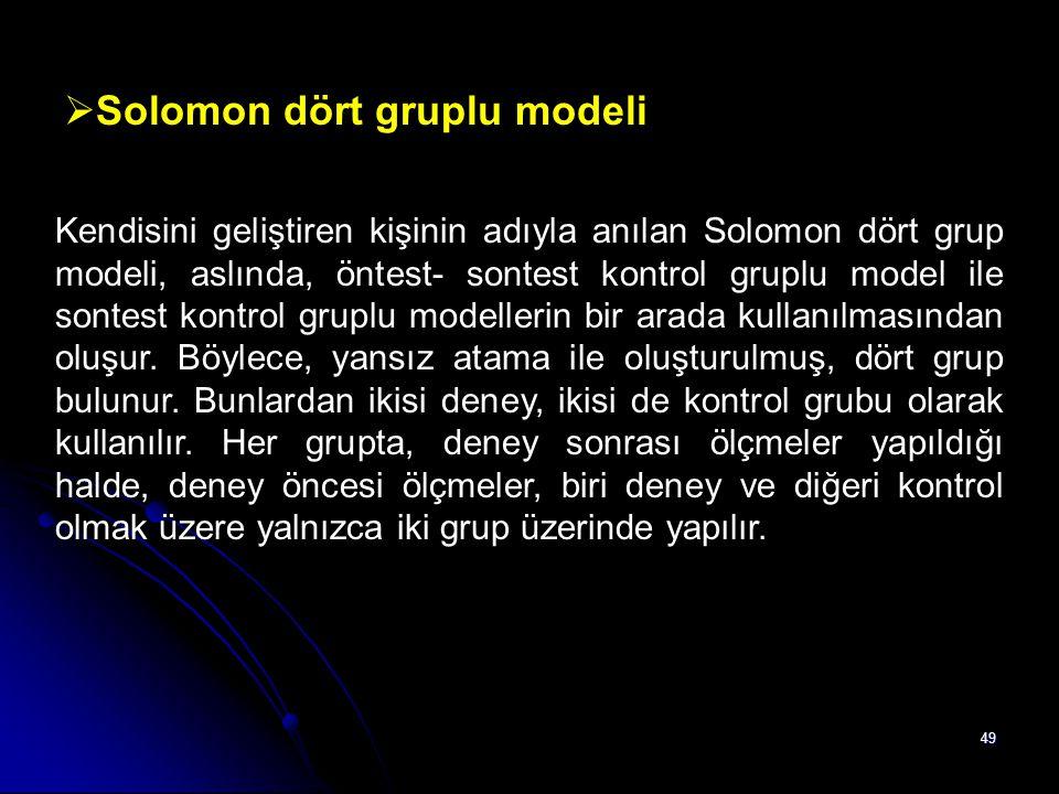 49  Solomon dört gruplu modeli Kendisini geliştiren kişinin adıyla anılan Solomon dört grup modeli, aslında, öntest- sontest kontrol gruplu model ile