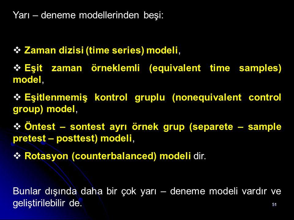 51 Yarı – deneme modellerinden beşi:  Zaman dizisi (time series) modeli,  Eşit zaman örneklemli (equivalent time samples) model,  Eşitlenmemiş kont