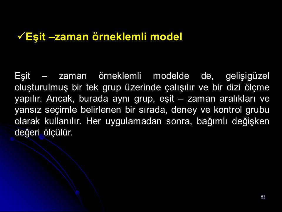 53 Eşit –zaman örneklemli model Eşit – zaman örneklemli modelde de, gelişigüzel oluşturulmuş bir tek grup üzerinde çalışılır ve bir dizi ölçme yapılır