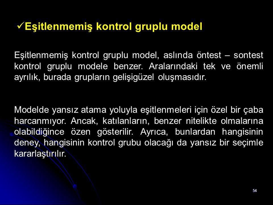 54 Eşitlenmemiş kontrol gruplu model Eşitlenmemiş kontrol gruplu model, aslında öntest – sontest kontrol gruplu modele benzer. Aralarındaki tek ve öne