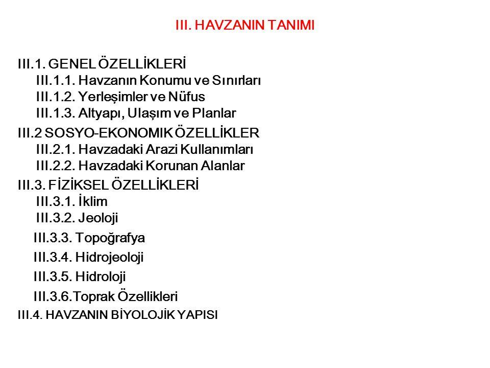 III. HAVZANIN TANIMI III.1. GENEL ÖZELLİKLERİ III.1.1. Havzanın Konumu ve Sınırları III.1.2. Yerleşimler ve Nüfus III.1.3. Altyapı, Ulaşım ve Planlar
