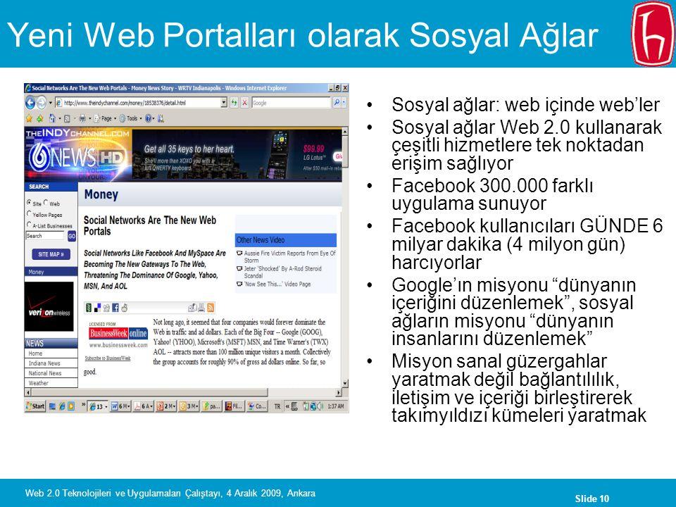 Slide 10 Web 2.0 Teknolojileri ve Uygulamaları Çalıştayı, 4 Aralık 2009, Ankara Yeni Web Portalları olarak Sosyal Ağlar Sosyal ağlar: web içinde web'l