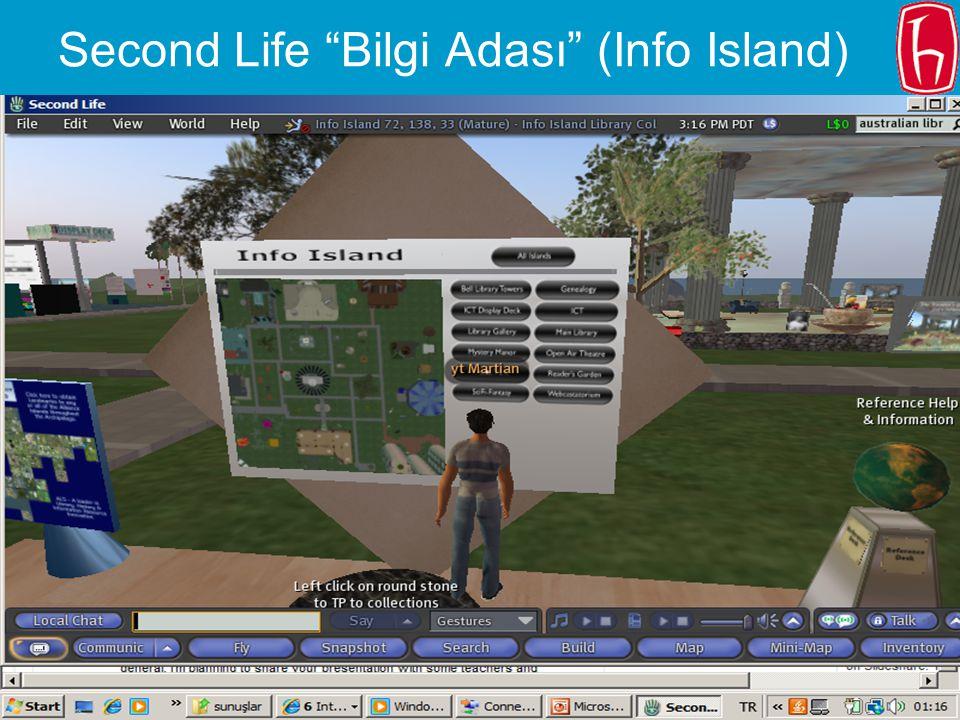 """Slide 19 Web 2.0 Teknolojileri ve Uygulamaları Çalıştayı, 4 Aralık 2009, Ankara45. Kütüphane Haftası, 3 Nisan 2009, İstanbul Second Life """"Bilgi Adası"""""""