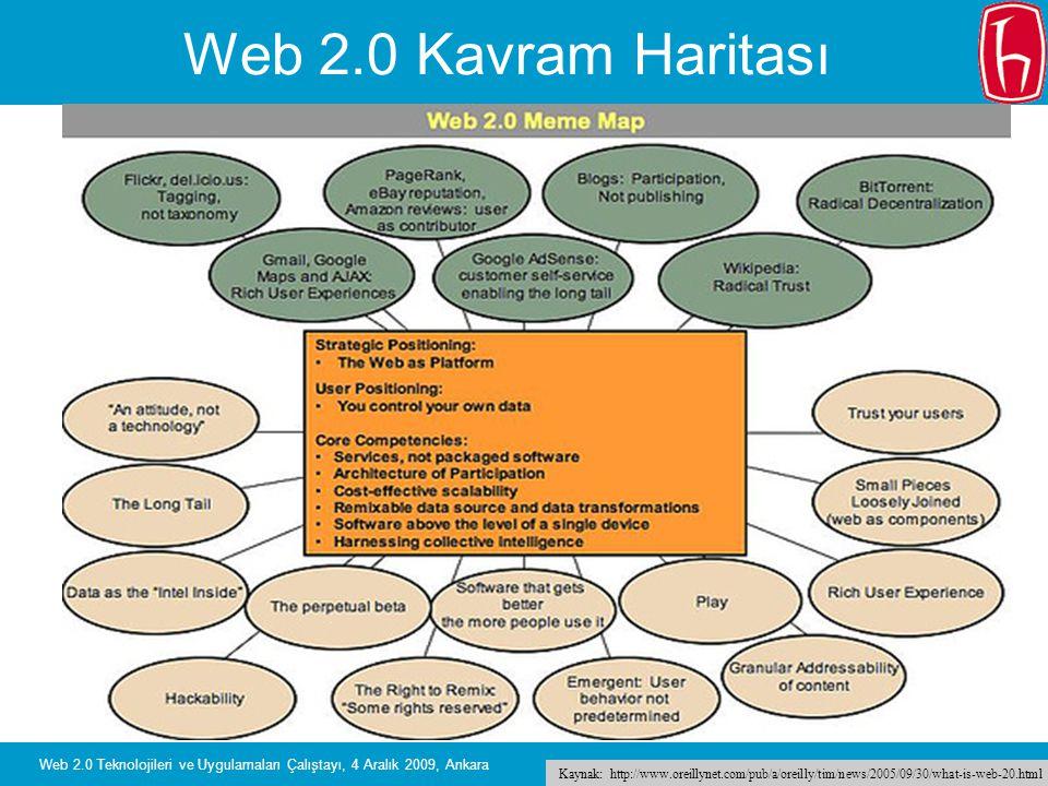 Slide 22 Web 2.0 Teknolojileri ve Uygulamaları Çalıştayı, 4 Aralık 2009, Ankara Web 2.0 Kavram Haritası Kaynak: http://www.oreillynet.com/pub/a/oreill