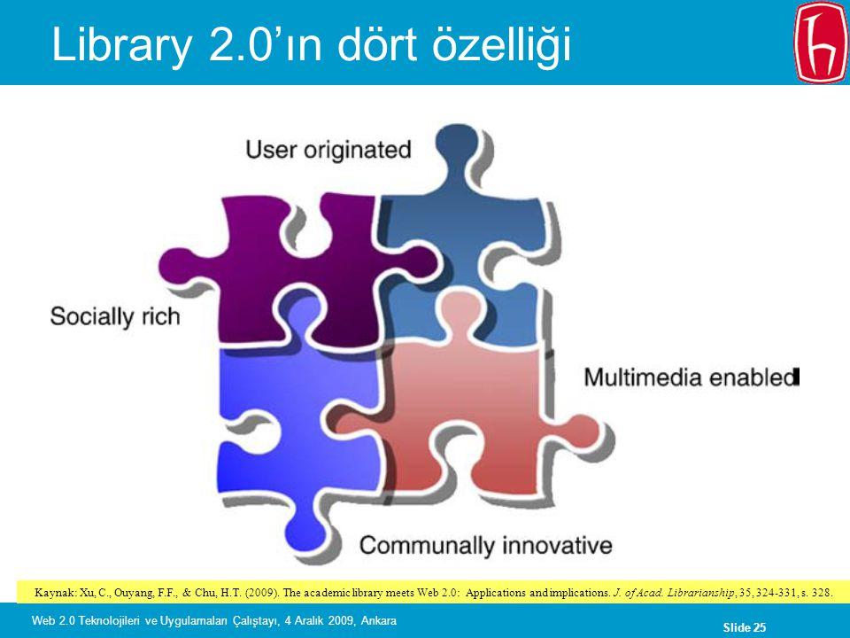 Slide 26 Web 2.0 Teknolojileri ve Uygulamaları Çalıştayı, 4 Aralık 2009, Ankara Web 2.0 ve kütüphaneler Kaynak: Xu, C., Ouyang, F.F., & Chu, H.T.