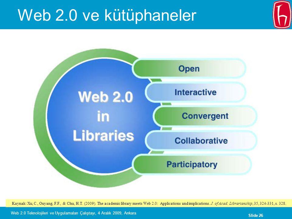 Slide 26 Web 2.0 Teknolojileri ve Uygulamaları Çalıştayı, 4 Aralık 2009, Ankara Web 2.0 ve kütüphaneler Kaynak: Xu, C., Ouyang, F.F., & Chu, H.T. (200