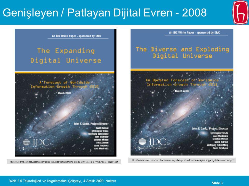Slide 3 Web 2.0 Teknolojileri ve Uygulamaları Çalıştayı, 4 Aralık 2009, Ankara Genişleyen / Patlayan Dijital Evren - 2008 http://www.emc.com/about/des