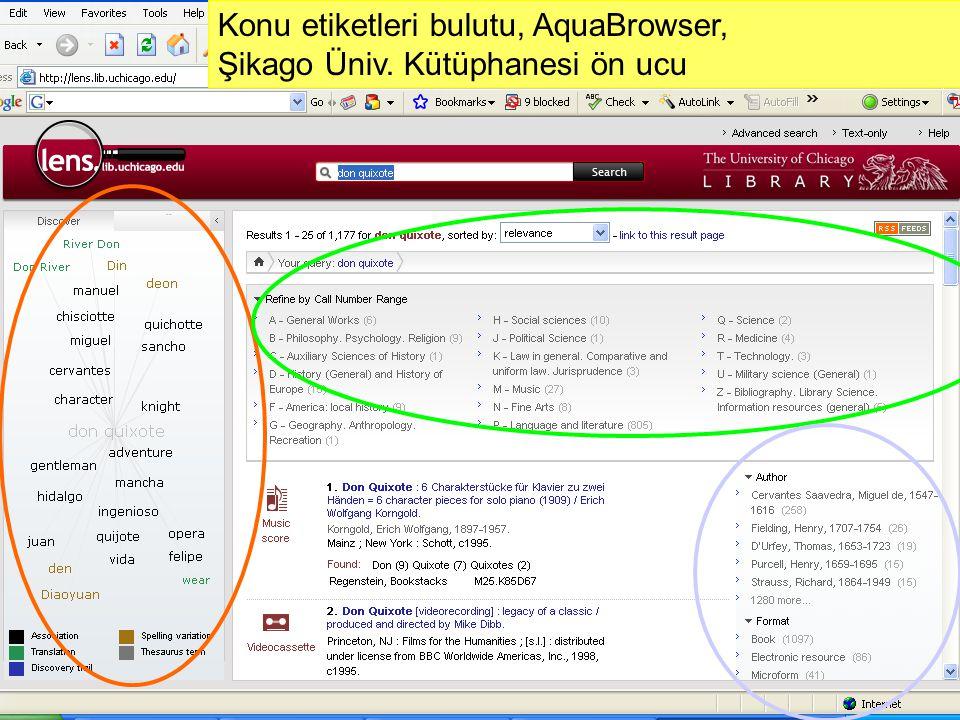 Slide 30 Web 2.0 Teknolojileri ve Uygulamaları Çalıştayı, 4 Aralık 2009, Ankara Konu etiketleri bulutu, AquaBrowser, Şikago Üniv. Kütüphanesi ön ucu