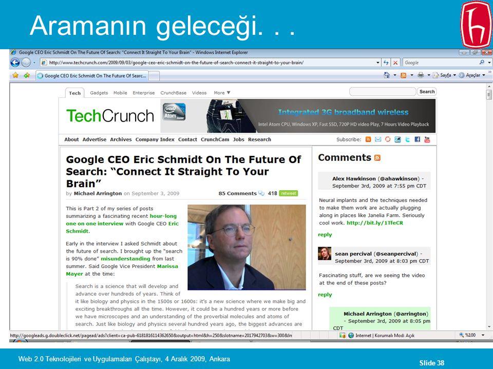 Slide 38 Web 2.0 Teknolojileri ve Uygulamaları Çalıştayı, 4 Aralık 2009, Ankara Aramanın geleceği...