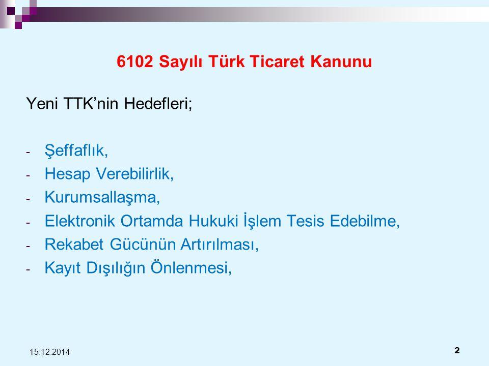 6102 Sayılı Türk Ticaret Kanunu Yeni TTK'nin Hedefleri; - Şeffaflık, - Hesap Verebilirlik, - Kurumsallaşma, - Elektronik Ortamda Hukuki İşlem Tesis Edebilme, - Rekabet Gücünün Artırılması, - Kayıt Dışılığın Önlenmesi, 15.12.2014 2