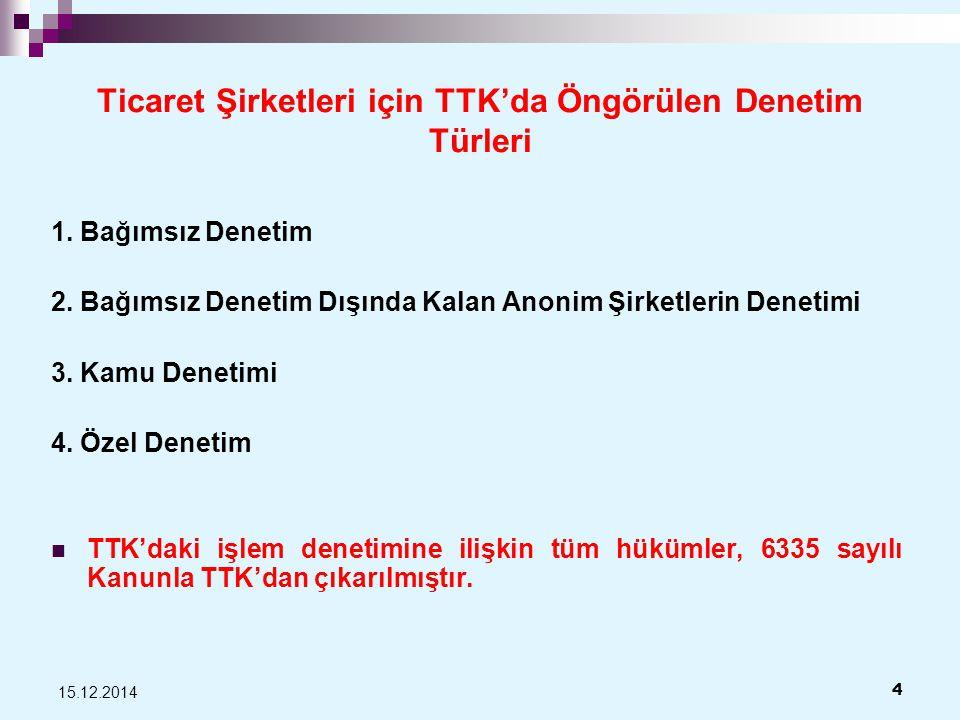Ticaret Şirketleri için TTK'da Öngörülen Denetim Türleri 1.