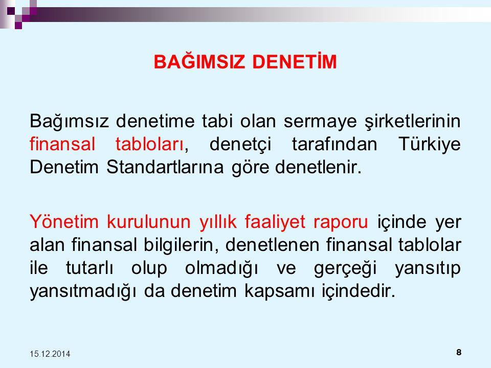 BAĞIMSIZ DENETİM Bağımsız denetime tabi olan sermaye şirketlerinin finansal tabloları, denetçi tarafından Türkiye Denetim Standartlarına göre denetlenir.
