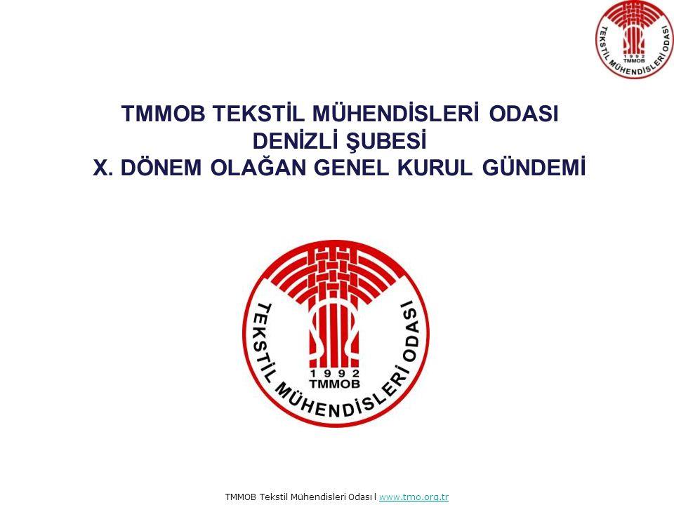 TMMOB Tekstil Mühendisleri Odası l www.tmo.org.trwww.tmo.org.tr TMMOB TEKSTİL MÜHENDİSLERİ ODASI DENİZLİ ŞUBESİ X.