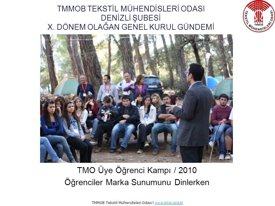 TMMOB Tekstil Mühendisleri Odası l www.tmo.org.trwww.tmo.org.tr TMO Üye Öğrenci Kampı / 2010 TMMOB Başkanı Mehmet Soğancı Yönetim Kurulumuz ve Öğrencilerimizle Sohbet Ediyor TMMOB TEKSTİL MÜHENDİSLERİ ODASI DENİZLİ ŞUBESİ X.