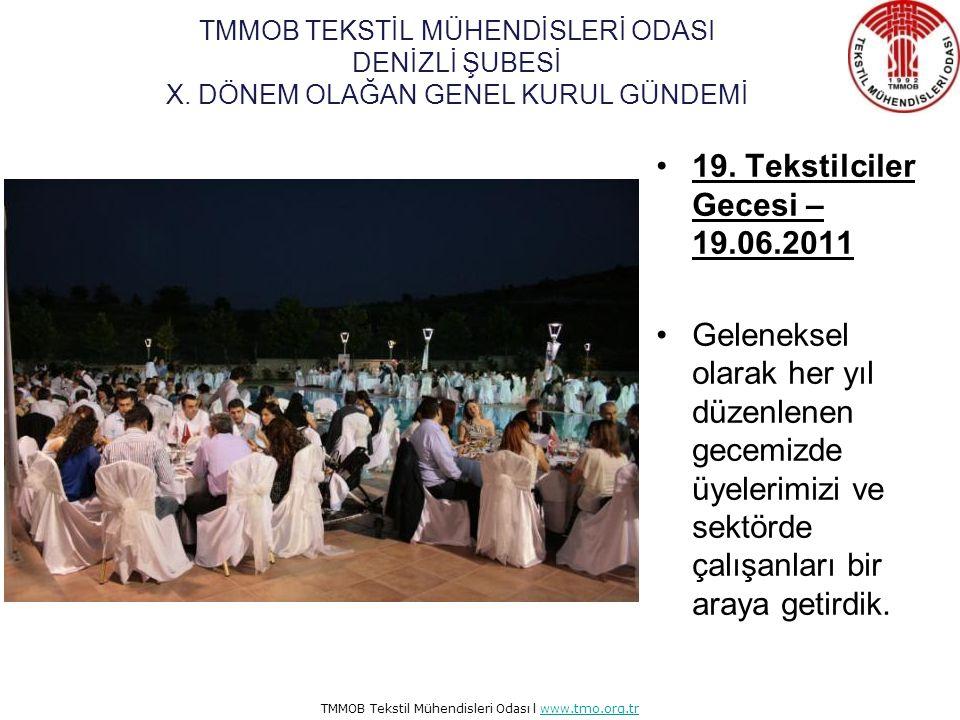 TMMOB Tekstil Mühendisleri Odası l www.tmo.org.trwww.tmo.org.tr Organik Tekstiller Eğitimi – 01.06.2011 Control Union firması ile ortaklaşa organik tekstiller eğitimi düzenlendi.